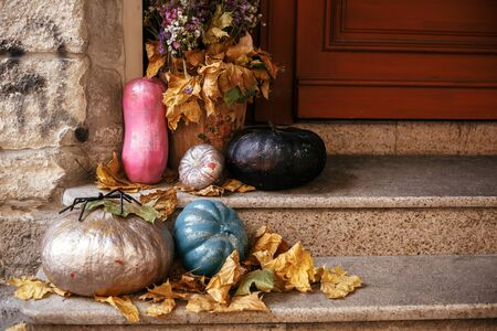 Halloween street decor. Colorful pumpkins and painted squash in city street, holiday decorations store fronts and buildings. Space for text. Trick or treat. Happy halloween. Autumn market