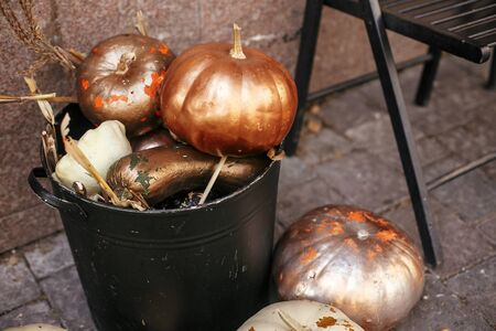 Stylish golden pumpkins and squash in city street, holiday decorations store fronts and buildings. Halloween street decor. Space for text. Trick or treat. Happy halloween. Autumn market Stock fotó