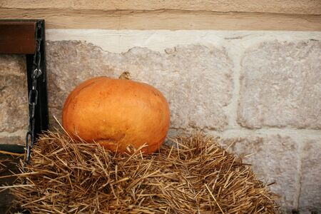 Halloween street decor. Pumpkin on hay in city street, holiday decorations store fronts and buildings. Space for text. Trick or treat. Happy halloween. Autumn market in town