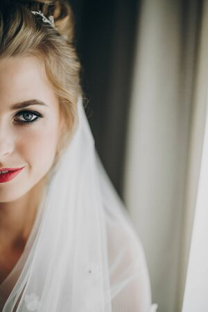 Stylish happy bride with amazing makeup posing in soft light near window in hotel room. Gorgeous sensual bride portrait. Morning preparation before wedding ceremony.