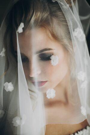 Stylish bride posing under veil in soft light near window in hotel room. Gorgeous sensual bride portrait. Morning preparation before wedding ceremony