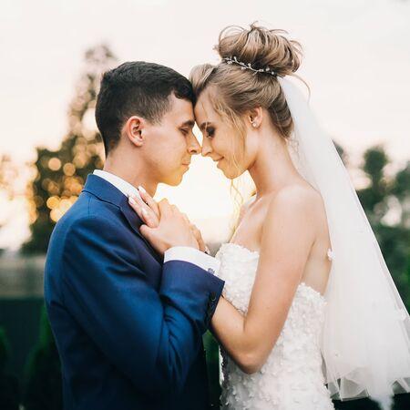 Stilvolle, glückliche Braut und Bräutigam posieren im warmen Abendlicht bei der Hochzeitsfeier im Freien. Wunderschönes Hochzeitspaar von Jungvermählten, das sich im Abendsonnenlicht umarmt