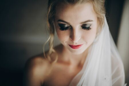 Stylish happy bride smiling and posing in soft light near window in hotel room. Morning preparation before wedding ceremony. Gorgeous bride portrait 스톡 콘텐츠
