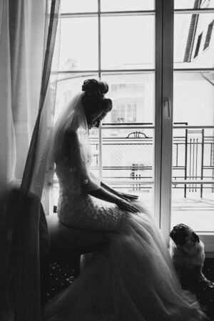 Stylish bride playing with pug dog in bow tie in soft light near window in hotel room. Gorgeous bride with her pet. Morning preparation before wedding ceremony 스톡 콘텐츠