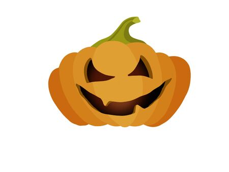 Halloween pumpkin with scary face, hand drawn illustration. Jack o lantern pumpkin isolated on white, scary glowing face on squash. Happy halloween icon