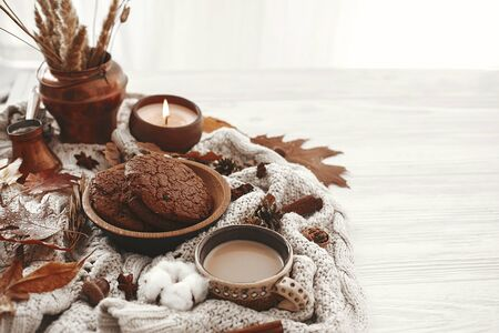 Hygge lifestyle, cozy autumn mood. Coffee cup, chocolate cookies, candle and fall leaves, cotton, cinnamon, anise, acorns, nuts on white knitted sweater. Autumn inspiration