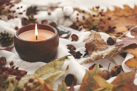Hello autumn, cozy inspirational image. Hygge lifestyle. Candle with berries, fall leaves, herbs, acorns, nuts , cinnamon on white fabric. Autumn mood.