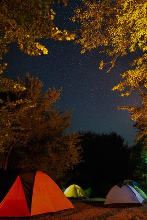 Tourists tent camp under amazing starry night sky with Milky way and stars in mountains. Camping under the beautiful stars and trees. Breathtaking scenic