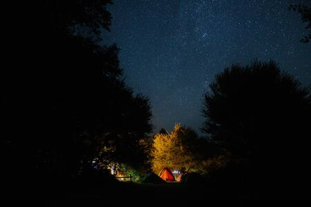 Amazing starry night sky with Milky way and stars above tourists tents in woods in mountains. Camping under the beautiful stars and trees. Breathtaking scenic