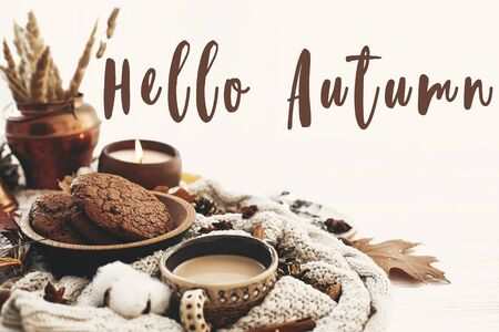 Hello Autumn text, fall greeting sign on coffee cup, chocolate cookies, candle and fall leaves, cotton, cinnamon, anise, acorns, nuts on white knitted sweater. Hygge lifestyle