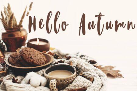 Hola texto de otoño, cartel de saludo de otoño en la taza de café, galletas de chocolate, velas y hojas de otoño, algodón, canela, anís, bellotas, nueces en un suéter de punto blanco. Estilo de vida Hygge Foto de archivo