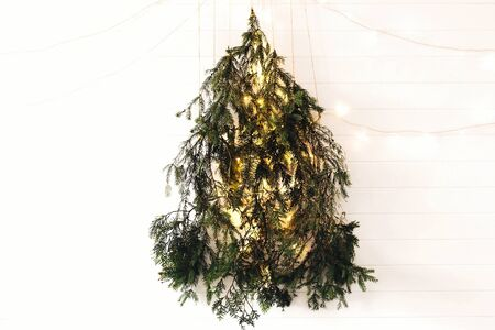 Modern christmas tree made of pine branches with golden festive lights hanging on white wooden wall. Alternative eco christmas tree concept. Scandinavian minimal decor in stylish room
