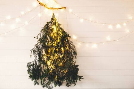 Alternative eco christmas tree concept. Modern christmas tree made of pine branches with golden festive lights hanging on white wooden wall. Scandinavian minimal decor in stylish room 免版税图像