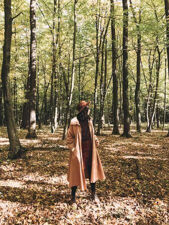 Hipster woman in hat and coat traveling in autumn sunny forest with fall leaves. Stylish traveler girl exploring autumn woods, enjoying sunny day 免版税图像