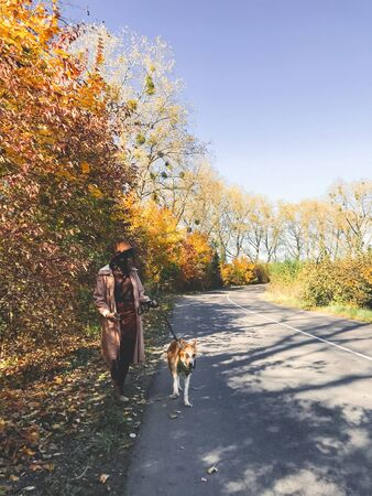 Hipster woman traveling with her golden dog, walking on autumn sunny road with fall leaves. Woman in hat and coat with dog exploring autumn countryside, walking at  colorful trees 免版税图像