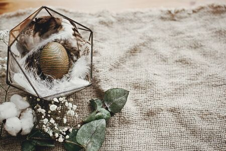 Stylish easter egg in modern nest with feathers on rustic table. Natural dyed green easter egg with eucalyptus branch, spring flowers, cotton on rural background. Space for text Stock Photo - 137650064