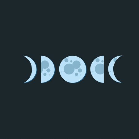 Moon phases in dark night, simple modern flat illustration. Blue full moon and crescent moon on dark background. Modern Hand drawn vector illustration