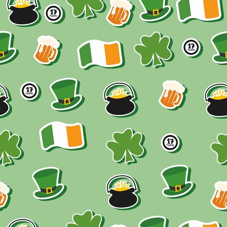 Happy Saint Patrick day seamless pattern. Modern Patricks hat, clover, cauldron with coins, beer with foam, ireland flag, 17 march calligraphy on green background. Hand drawn vector illustration Archivio Fotografico - 138168878
