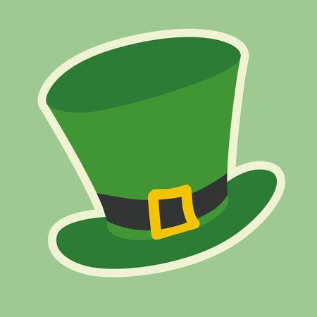 Modern Saint Patricks hat on pastel green background, flat illustration. Happy Saint Patrick day. Simple Hand drawn vector illustration. Sticker, emblem or icon.