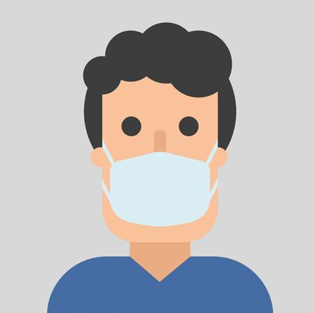 Man in mask, flat character in breathing mask. Air pollution. Bacterias and virus in air. Warning quarantine. Hand drawn vector illustration. Coronavirus epidemic. Protection and safety