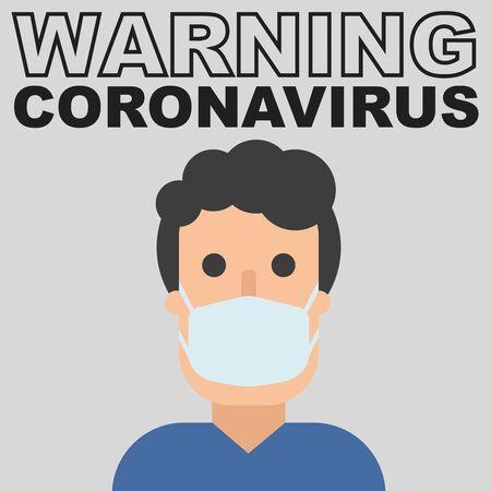 Warning coronavirus text and man in mask, flat character in breathing mask. Hand drawn vector illustration. warning of quarantine. Coronavirus epidemic. 2019-ncov, chinese virus.