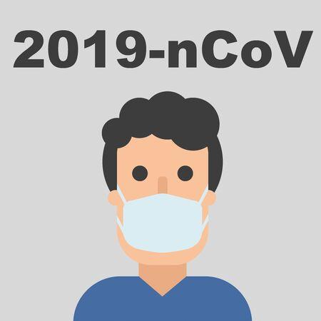 Hombre con máscara, personaje plano con máscara respiratoria, advertencia de cuarentena. 2019-ncov, virus chino. Ilustración de vector dibujado a mano. Epidemia de coronavirus