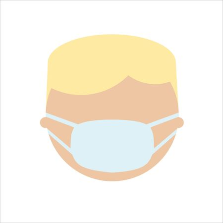 European blonde man in mask, flat character. Face in breathing mask. Warning quarantine. Coronavirus epidemic.Air pollution. Bacterias and virus. Hand drawn vector illustration.