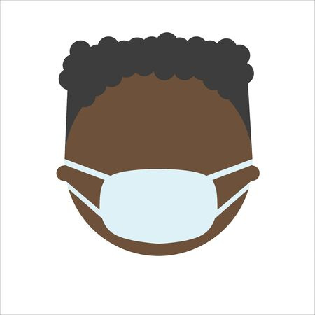 African american man in mask, flat character. Male Face in breathing mask. Warning quarantine. Coronavirus epidemic.Air pollution. Bacterias and virus. Hand drawn vector illustration.