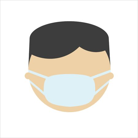 Asian man in mask, flat character. Male Face in breathing mask. Warning quarantine. Coronavirus epidemic.Air pollution. Bacterias and virus. Hand drawn vector illustration.