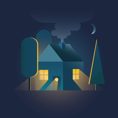Home. House in night time with warm light falling through windows among trees, smoke from chimney and moon above. Flat style. Inspiration cozy home.