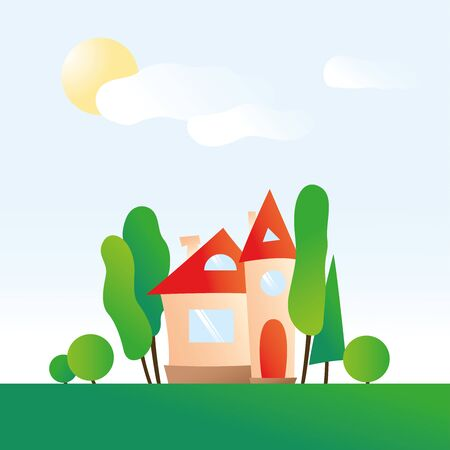 Modern house with green trees on background of blue sky with sun and clouds. Flat style. Cozy family home. Hand drawn illustration.