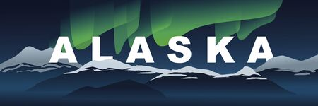Welcome to Alaska. Alaska word and beautiful north light and mountains covered with snow, landscape banner. Modern hand drawn vector in flat style. Traveling and exploring