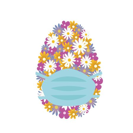 Easter Egg with medical mask. Colorful floral Easter egg with blooming flowers in face mask, isolated on white. Spring allergy. Vector in flat style. Virus epidemic, stay safe. Air pollution