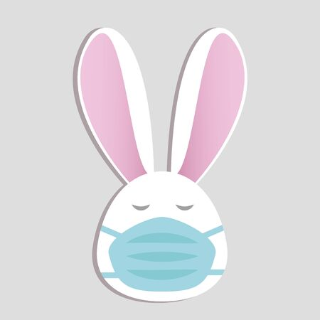Cute white bunny in face mask on grey background with text. Stay home stay safe. Air pollution concept. Spring allergy. Vector in flat style. Easter rabbit in medical mask in quarantine 일러스트