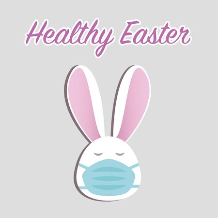Healthy Easter concept. Cute Easter bunny in face mask on grey background with text. Stay home stay safe. Vector in flat style. Happy Easter greetings. Rabbit in medical mask, quarantine 일러스트