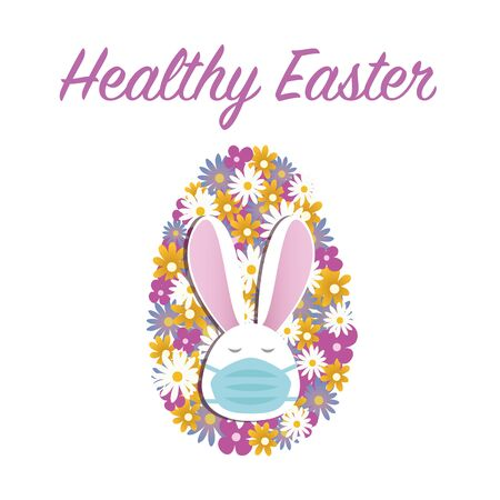 Healthy Easter concept. Cute bunny in face mask and colorful Easter egg made of spring flowers, isolated on white with text. Stay home stay safe. Vector in flat style. Happy Easter greetings