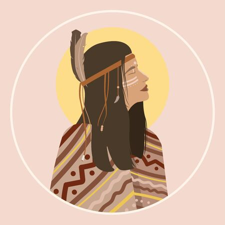 Indigenous woman shaman portrait with feathers in hair and wearing traditional poncho.