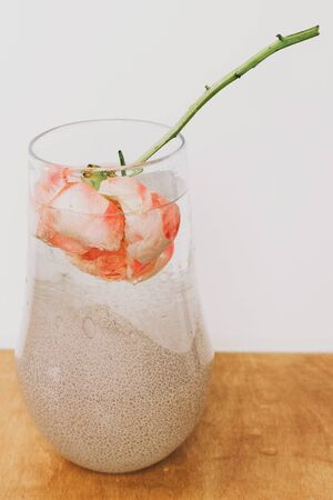 Peony flower under water in glass transparent vase.  Beautiful flower immersed in water and air drops on petals. Art and aesthetic, creative photo.