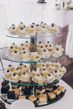 Wedding candy bar. Delicious chocolate desserts, cakes and cookies on stand at wedding reception in restaurant. Luxury catering service