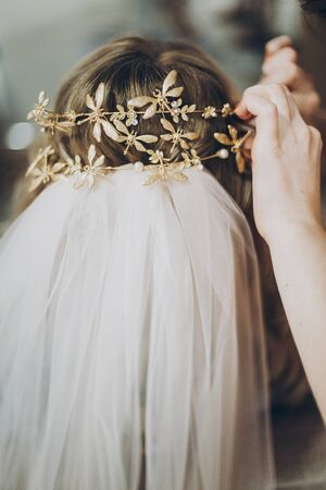 Hair stylish putting on stylish bride golden tiara with butterflies, morning preparations for wedding day. Bride in hair salon styling her hair with modern authentic wreath and veil 版權商用圖片