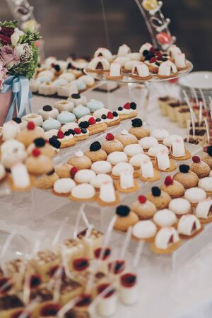 Wedding candy bar. Delicious creamy desserts with fruits,  panna cotta, cakes and cookies on table at wedding reception in restaurant. Luxury catering service.