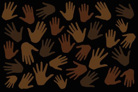 Many hands on dark background, stop racism. Black lives matter. Interracial community unity. Protests against racism in America. Modern vector in flat style. New movement on the rise