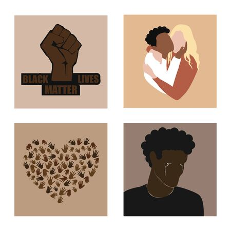 Stop racism set. Black lives matter and protesting fist, two multiracial persons hugging, many hands in hearts shape, african american man crying. Modern vectors in flat style