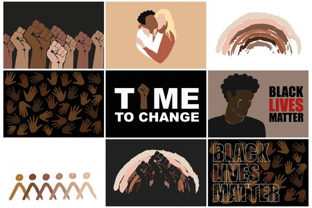 Black lives matter set. Stop racism. Protesting fist, multiracial persons hugging, different hands, man crying, rainbow and abstract people in different races skin colors. Modern vectors