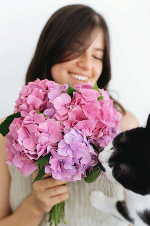 Young woman holding beautiful hydrangea bouquet and cute cat smelling flowers on background of white wall. Curios kitty smelling  pink  flowers and girl smiling