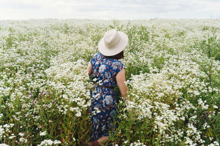 Stylish young woman in blue vintage dress and hat walking in summer meadow in many white wildflowers. Tranquil summer in countryside. Beautiful girl standing in white daisies