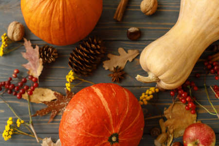 Happy Thanksgiving greeting card. Pumpkins, autumn leaves, apples, anise, cones, acorns and flowers on dark wooden background. Fall harvest on rustic wood top view.