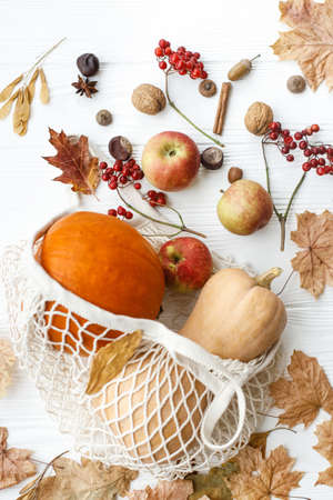 Eco friendly Thanksgiving, flat lay. Zero waste holidays, fall harvest. Reusable shopping bag with pumpkins, apples, berries, nuts and autumn leaves on white wooden background.