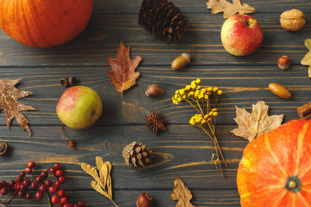Fall harvest on rustic wood top view. Pumpkins, autumn leaves, apples, anise, cones, acorns and flowers on dark wooden background. Autumnal greeting card.