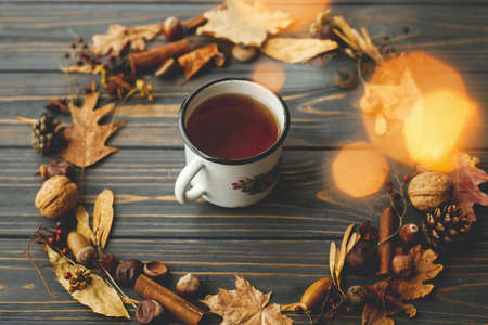 Rustic metal mug with tea and autumn wreath made of leaves, berries, acorns and pine cones on dark wooden background. Hello fall! Cozy autumn image